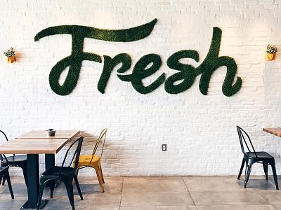 Fresh Mural restaurant branding restaurant branding hand-drawn fresh type mural hand-lettering mural lettering typography
