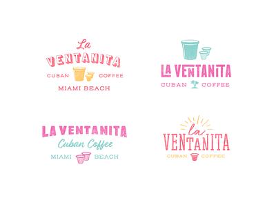 La Ventanita Logos tropical miami restaurant artisan logo coffee logo coffee branding typography logo design logo