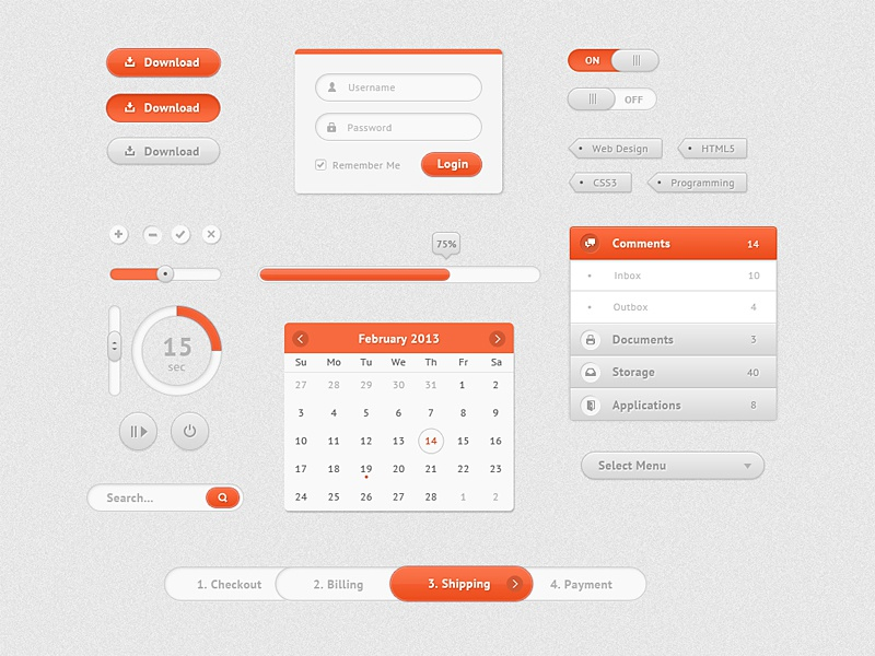 Cute UI Kit photoshop psd vector ui design user interface gui graphic user interface freebie buttons orange login form toggles vertical navigation progress bar circular search tags on off pause cross okay radio payment process