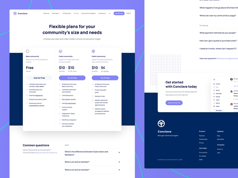 Conclave — Pricing conclave branding website webdesign modern pricing page web page web landing page community builder community