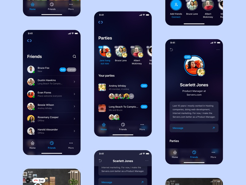 Connect Club online call mobile ui product concept mobile product design mobile app design app mobile concept mobile app contacts friends online connect connect club online networking networking app concept