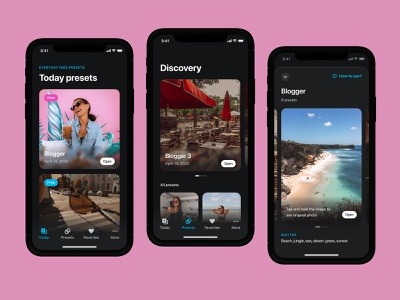 PRST – Presets for Lightroom item view feed today discovery real app mobile product mobile app mobile ui mobile app design mobile apps filter app photo app lightroom prst presets