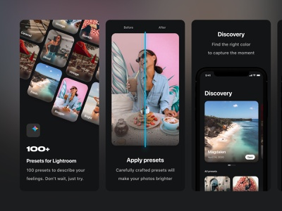 AppStore Screenshots – PRST mobile presets mobile filters photo filters mobile product design lightroom presets lightroom mobile lightroom mobile ui mobile app screenshots appstore product branding appstore visual design