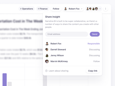 Sharing in Narrative BI dashboard ui interface data table product ui web ui product data insight narrativebi insight web share button invite collaborative collaborate collaboration share