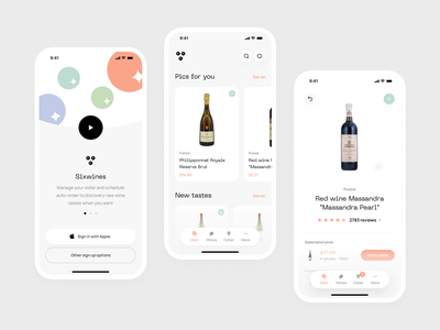 Sixwines | UI concept wine delivery sixwines wine branding home feed recommendations feed app home mobile product product concept mobile app ui product branding app concept wines wine app wine