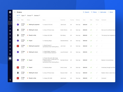 Orders List – Collapsed Navigation collapsed navigation navigation bar collapsed marketplace market shop crm shop app amazon fulfillment order fulfillment order management orders list interface web ui product ecommerce shop