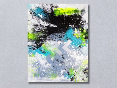 """Return Trip"" Acrylic Painting graffiti stencil paper print monooprint splatter grunge abstract background graphic paint acrylic painting"