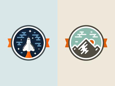 Badges badge emblem graphic space mountain shuttle rocket sky ribbon vector