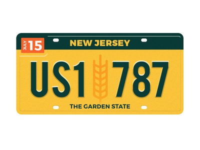 NJ License Plate license plate state nj jersey new new jersey farm wheat