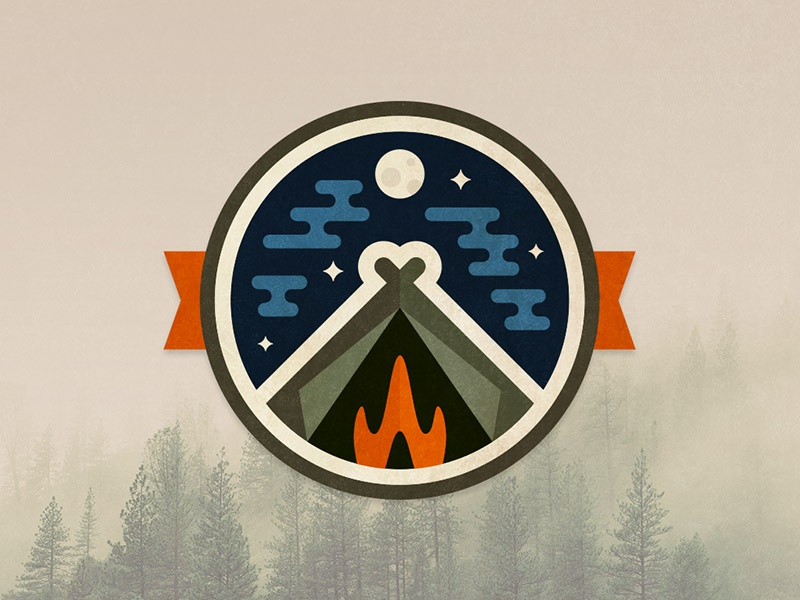 Camp Badge teepee shelter icon sky vector campfire fire tent badge camping camp