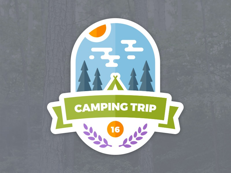 Camping Trip Badge sticker graphic tree woods forest outdoors tent vector camping camp badge emblem