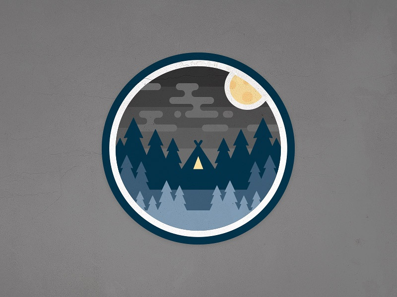 Night Camp Badge moon emblem sky teepee tent tree forest patch badge woods camping camp