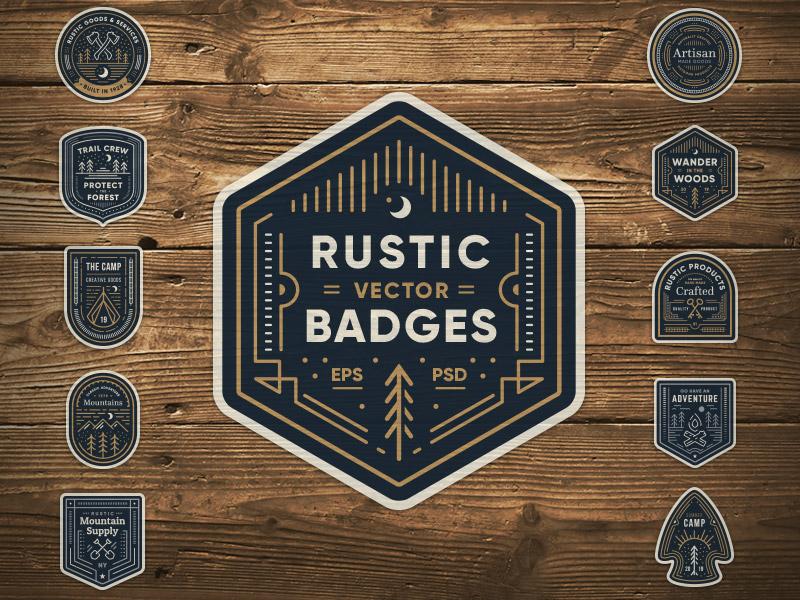 Rustic Badges arrow tree woods patch emblem vector retro vintage rustic badge