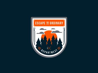 Departwest Badge camping woods emblem vector design apparel tshirt graphic badge escape the ordinary departwest