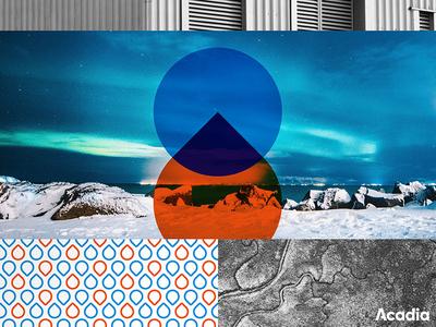 Acadia Branding cold heat industrial mark pattern acadia thermal energy marketing branding logo