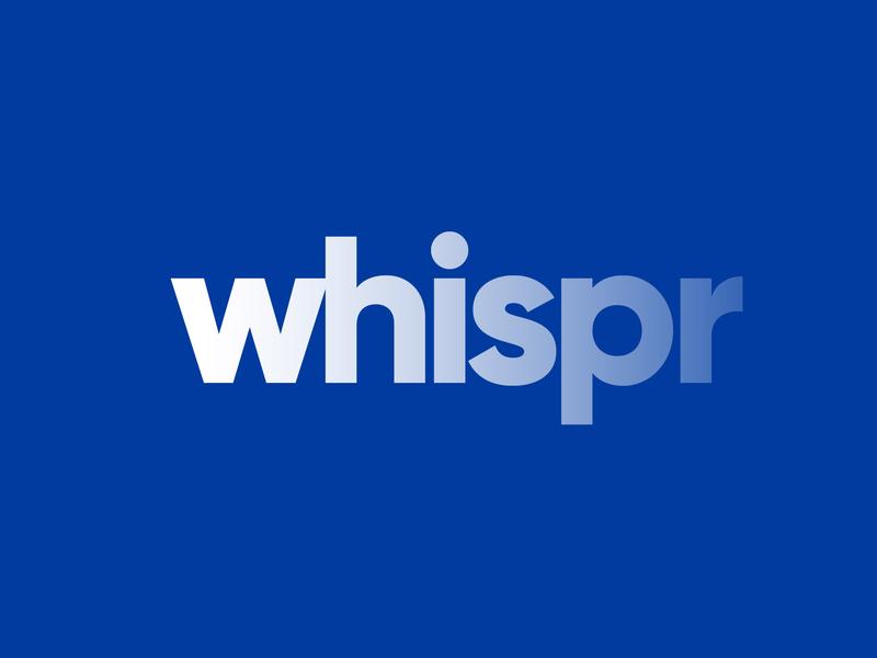 Whispr logo typography branding design vector white wordmark logotype text faded fade logo whispr