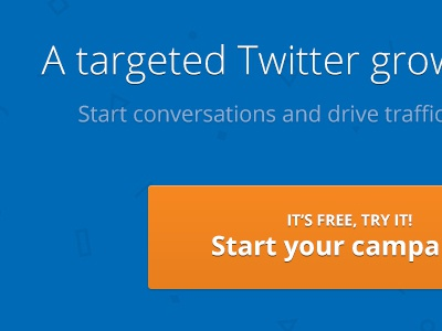 PureFollow homepage homepage landing page call to action button