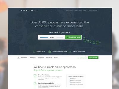 AvantCredit Landing Page landing page homepage avant credit long form