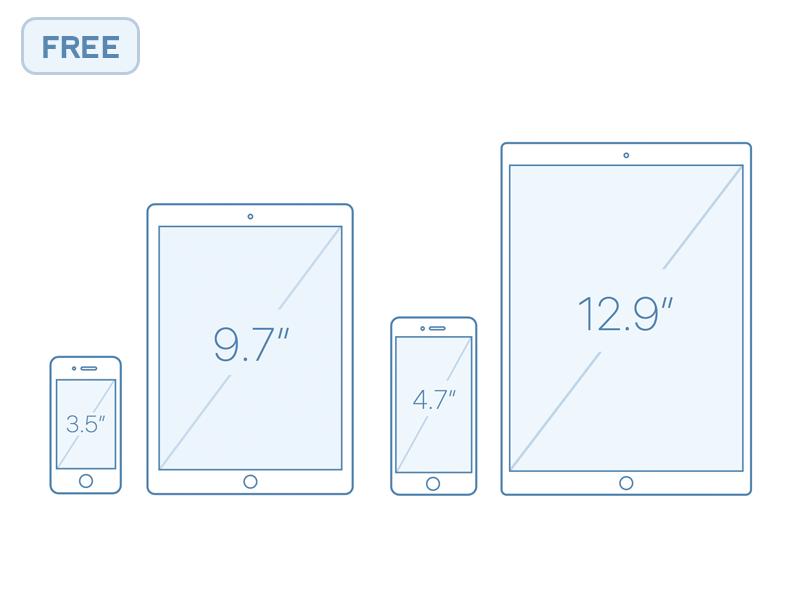 iPhone + iPhone Outline Mocks free sketch outline iphone ipad pro ipad