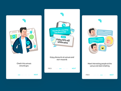 Onboarding [Social app] onboarding walk through friends people london venues color interface icon dailyui party illustration design ux ui app