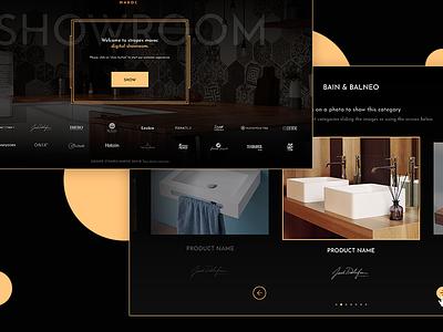 Digital showroom gold elegant dark interiorism ambient forniture tile showroom interface ui ux design