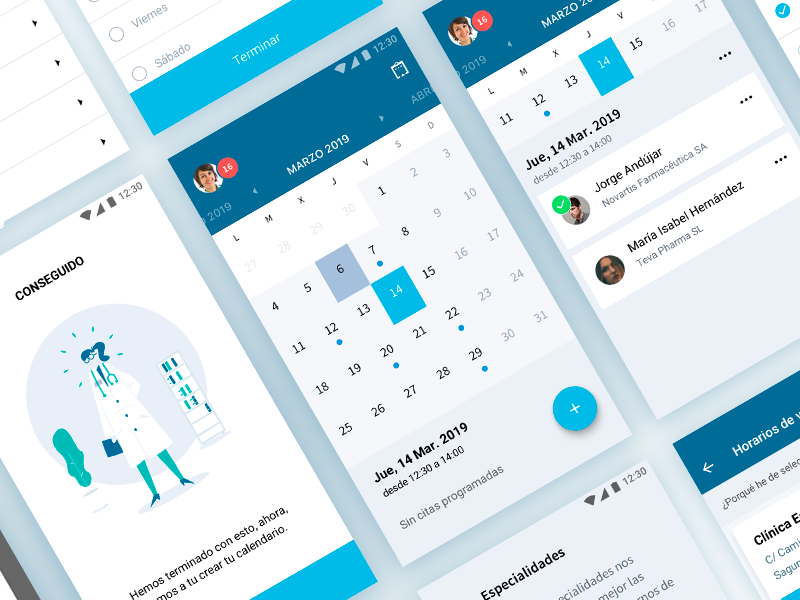 Calendar app doctor pharmacy health medical date calendar interface icon illustration ux design ui app