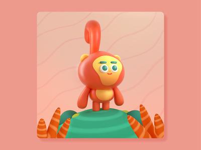 Monkey 🐒🌴✨ cute 3d art low poly octane graphic design design color character illustration c4d 3d