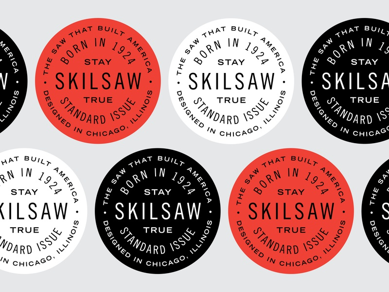 Skilsaw Badges typography branding lockup badge type