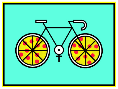 Pizza Party! pizza bike simple color art crank