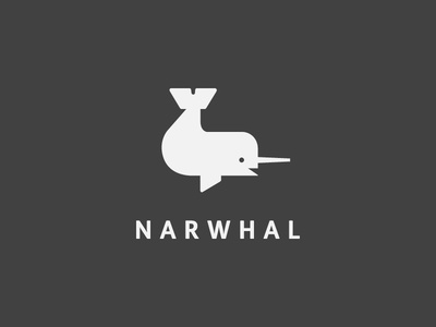 Narwhal Buddy simple animal narwhal icon logo