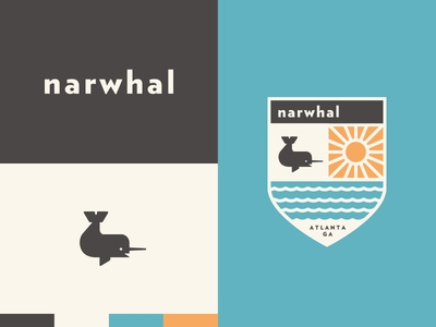 Narwhal icon simple color badge seal brand logo