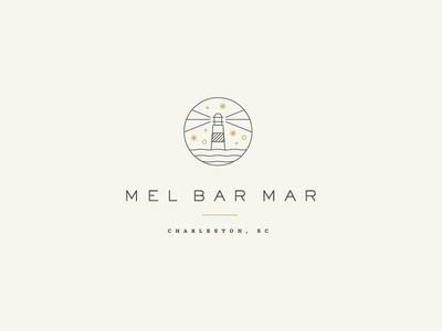 Mel Bar Mar simple lighthouse lines logo