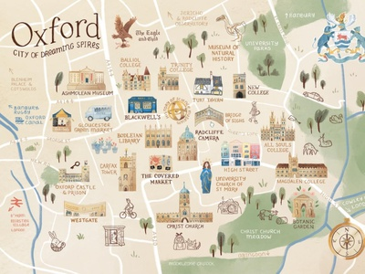 Illustrated Map of Oxford icon typography illustration design map