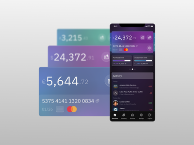 Bank app with investment options b2b b2c after effects accounting motion credit card animation finances financial investment stocks banking bank application app mobile design ux ui
