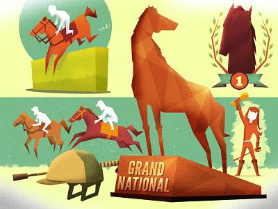 Horse Race  horse race illustrations jockey helmet trophy horse