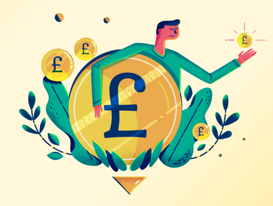 :::Financial illustration - salary raise::: illustration thrive financial coin sterling pound infographic