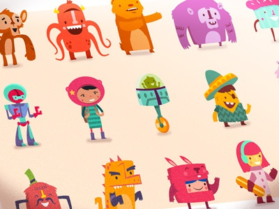 Hopscotch app characters characters monsters cute animals funny childish kids illustrations