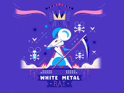 :::The White Metal Rat::: chinese virus illustrator design photoshop monster vector lunar astrology china mouse rat disease corona virus illustration