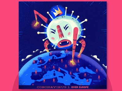 ::: Corona Virus I: Over Europe::: european union wuhan china coronavirus corona virus pandemic illustration europe