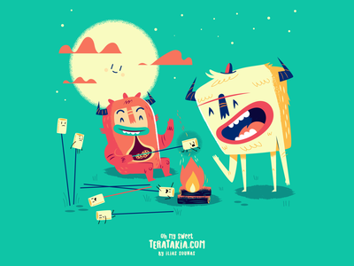 :::Teratakia Campfire Marshmellows::: funny illustration vector happy night marshmellows campfire fire cookie monster monster
