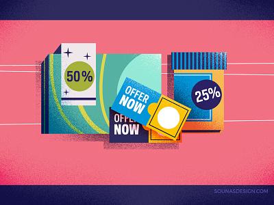 :::Discount Offers::: minimal shapes texture vectorart