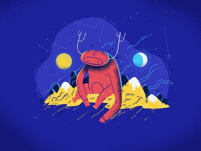 :::The Thinker::: procreate art whimsical constellations space sky mountain dream sun moon monster procreate