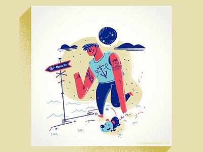 :::To the ocean::: brush whimsical cliff walk stroll dog ocean illustration procreate art