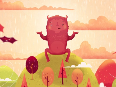Autumn Monster autumn fall serenity rain clouds monster happy hill trees leaves character