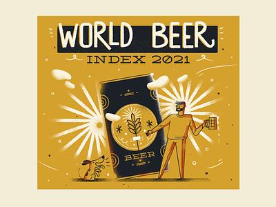 :::World Beer Index::: beer label beer can dog man beer photoshop vector infographic happy illustration