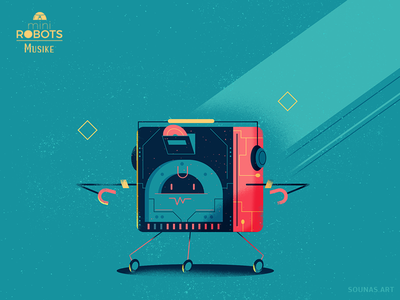 :::Mini Robots - Musike::: characters design game infographic happy automaton cubic cube funny music future adobe illustrator vector illustration character design robot