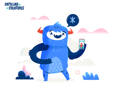 :::Familiar Creatures - Happy Monster::: design funny character design characters vector mobile monster happy character illustration