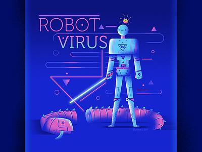:::Robot Virus::: lightsword sword computer space 80s arcade virus worm monster character illustration illustrat