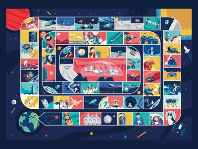 :::Space game book illustrations::: satellite exploration vector station mars pawns spaceship board game game game book illustration space