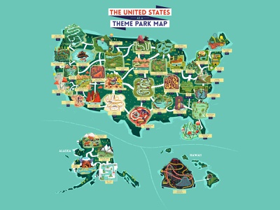 :::USA as a theme park map::: buildings architecture states landscape map illustrated map usa map theme park illustration map design